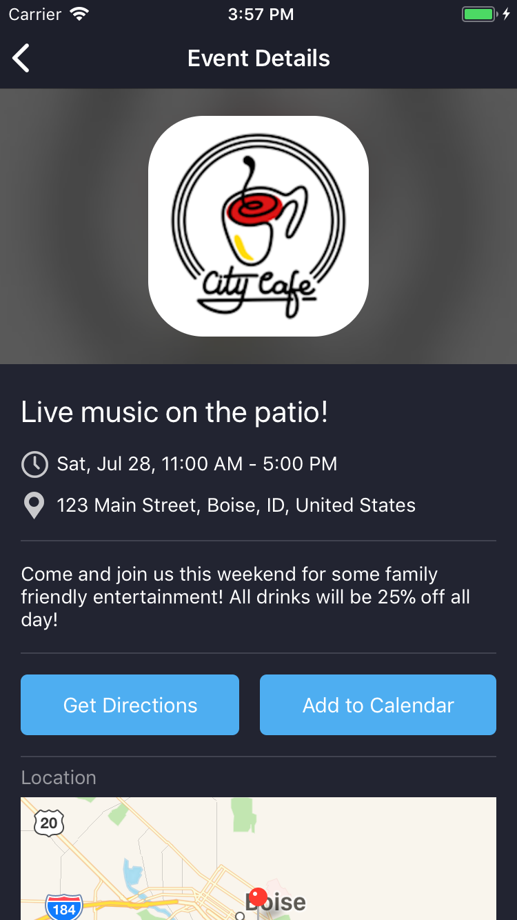Screenshot of the Sparkage mobile app showing the event details screen