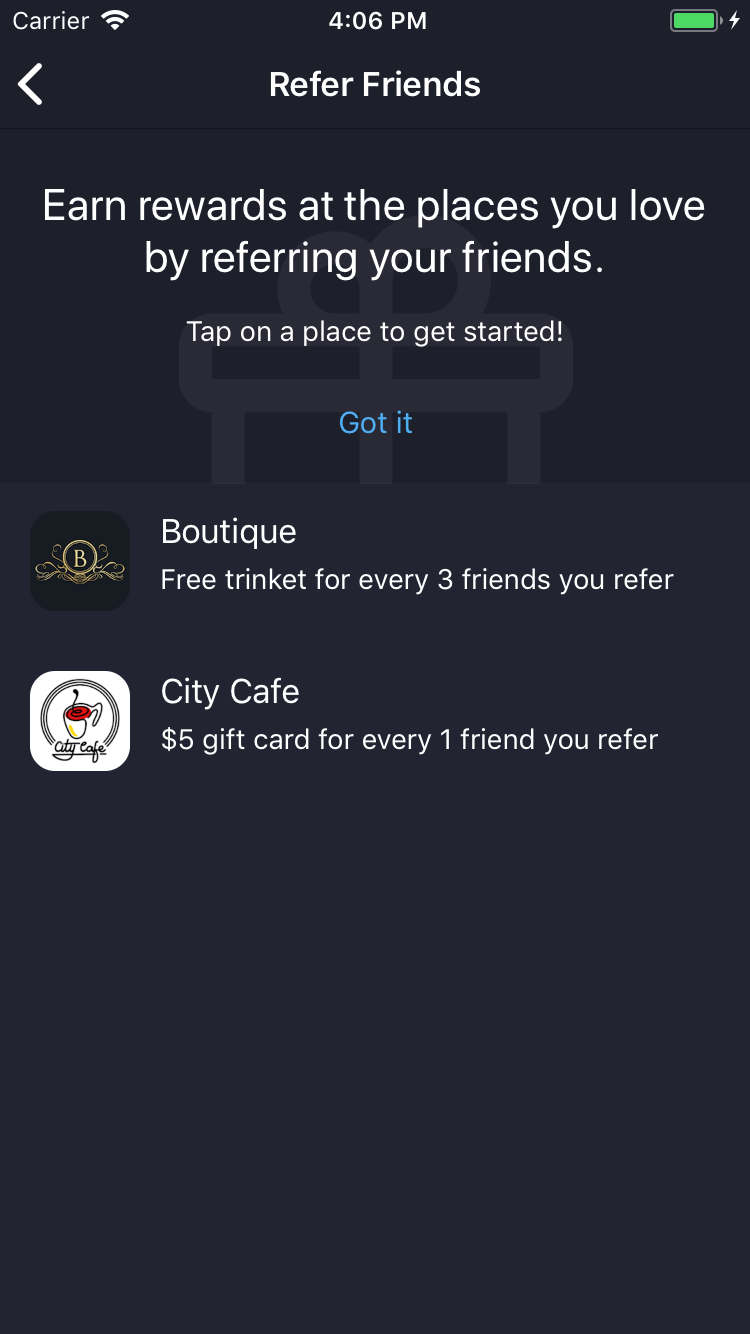 Screenshot of the Sparkage mobile app showing the referrals overview screen